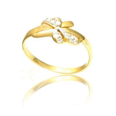 Złoty pierścionek z awangardowym wzorem