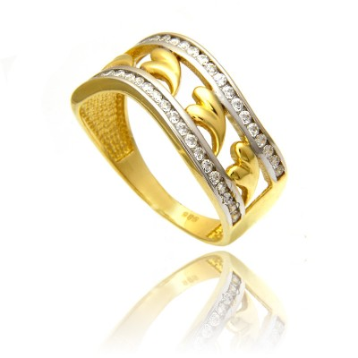 Złoty pierścionek z serduszkami