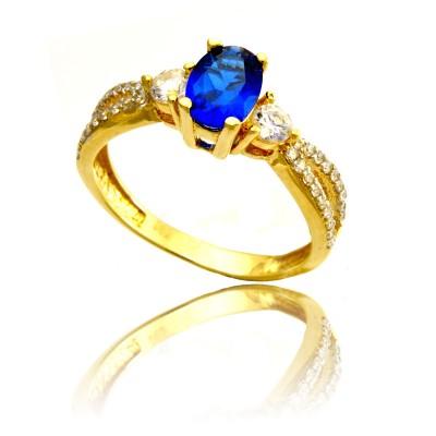Złoty pierścionek z cyrkonią w kolorze szafiru Prezent Grawer GRATIS