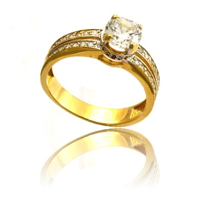 Złoty elegancki pierścionek Prezent Grawer GRATIS
