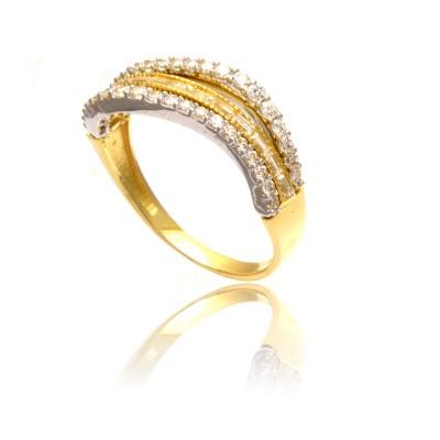 Dwukolorowy złoty pierścionek z cyrkoniami