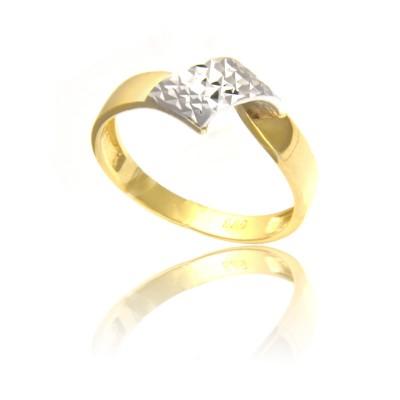 Stylowy diamentowany złoty pierścionek