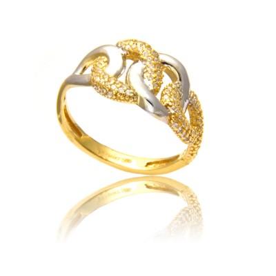 Dwukolorowy bogato zdobiony awangardowy pierścionek