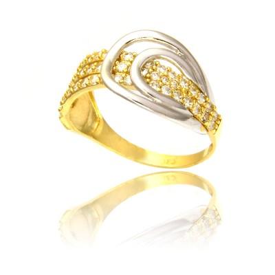 Awangardowy pierścionek z żółtego i białego złota
