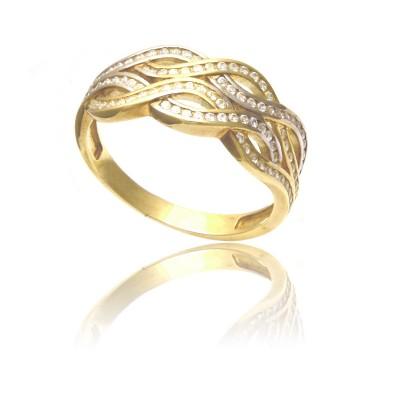 Złoty pierścionek z eleganckim wzorem