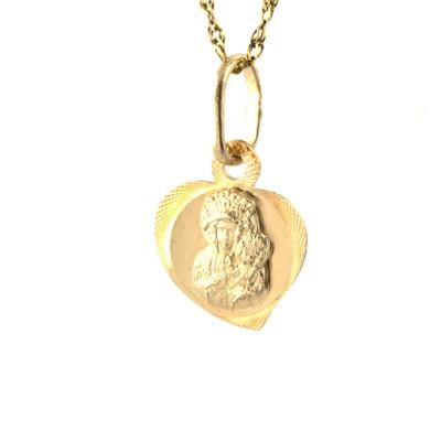 Minimalistyczny złoty komplet z z medalikiem