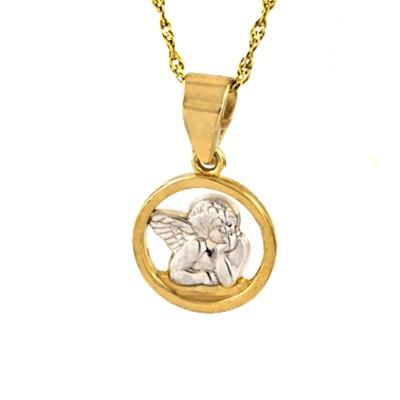 Subtelny złoty komplet zawieszka z łańcuszkiem