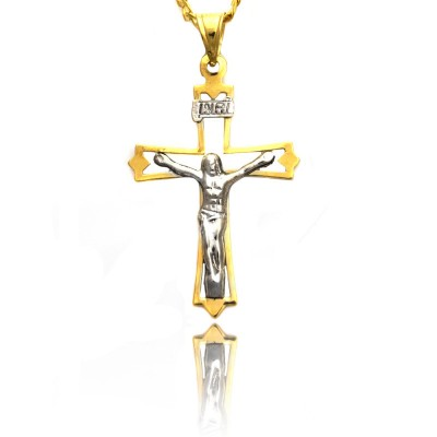 Dwukolorowy złoty krzyżyk