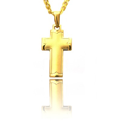 Złoty szeroki krzyżyk