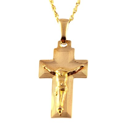 Gustowny złoty komplet z krzyżykiem