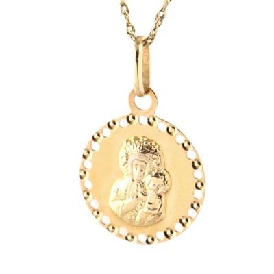 Elegancki złoty komplet medalik z łańcuszkiem