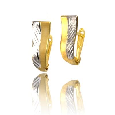 Ozdobne dwukolorowe złote kolczyki