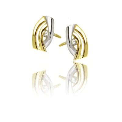 Kolczyki złote dwukolorowe