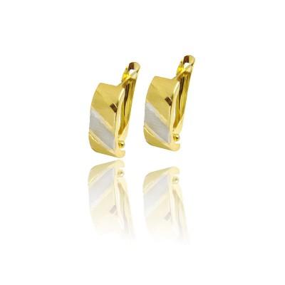 Złote kolczyki ozdobione subtelnym białym złotem