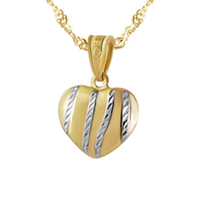 Złota zawieszka wypukłe serce uroczo zdobiona białym złotem
