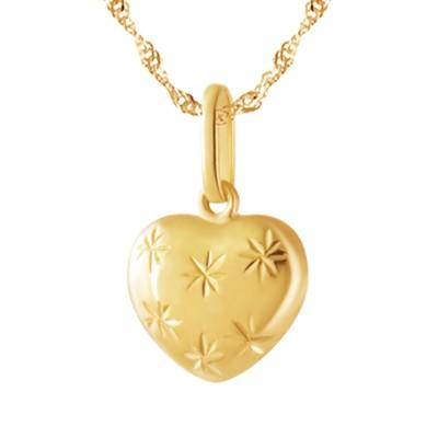 Niepowtarzalna złota zawieszka wypukłe serce uroczo zdobiona