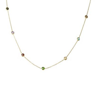 Niecodzienny złoty naszyjnik z kolorowymi kryształkami Prezent Grawer GRATIS