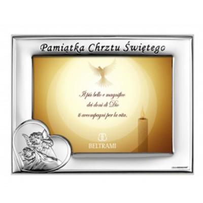 Srebrna ramka na zdjęcie Pamiątka Chrzest Święty Grawer GRATIS