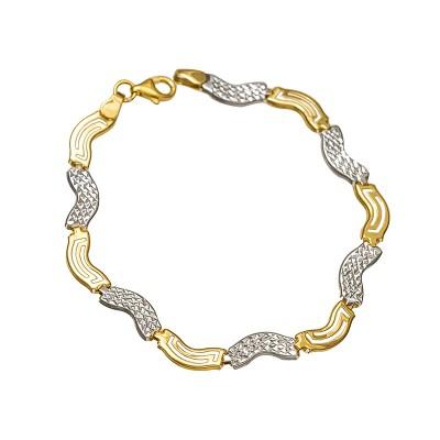 Efektowna złota bransoletka w eleganckim kształcie i dodatkiem białego złota