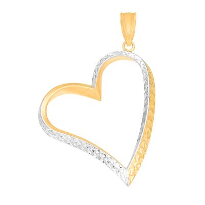 Urocza złota zawieszka w kształcie Serduszka o ciekawym wykończeniu Prezent Grawer GRATIS