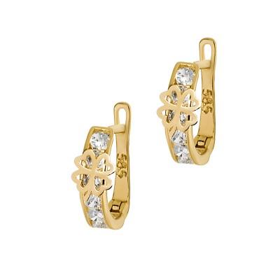 Złote kolczyki z czterolistną koniczynką Prezent Grawer GRATIS