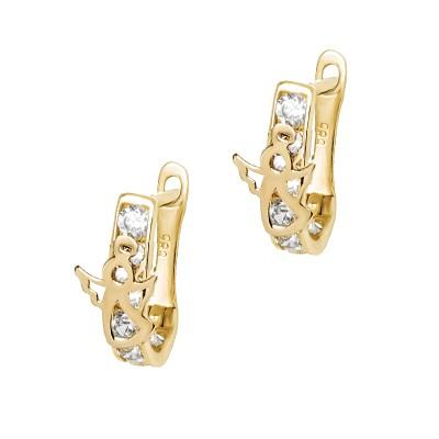 Złote kolczyki z Aniołkiem Prezent Grawer GRATIS