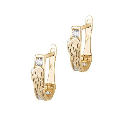 Złote klasyczne kolczyki ze Skrzydełkiem Prezent Grawer GRATIS