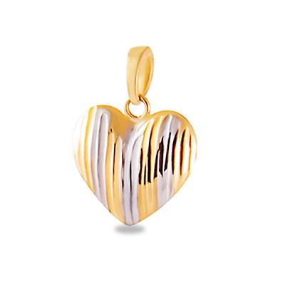 Złota zawieszka serce diamentowane z białym złotem