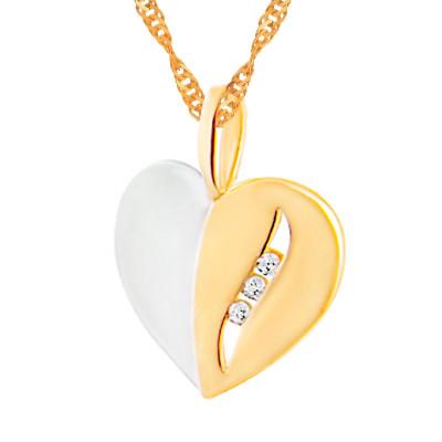 Złotykomplet łańcuszek serce z cyrkoniami WALENTYNKI