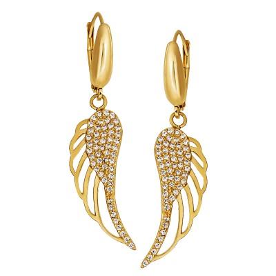 Cudowne złote kolczyki modne skrzydła Grawer GRATIS