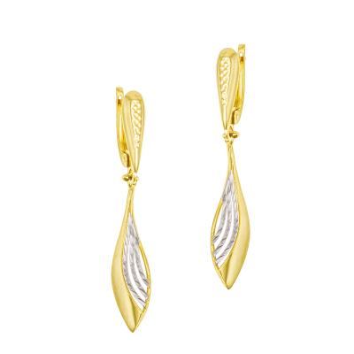 Eleganckie złote kolczyki z białym złotem Prezent Grawer GRATIS