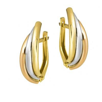 Niecodzienne złote kolczyki z trzech kolorów złota Prezent