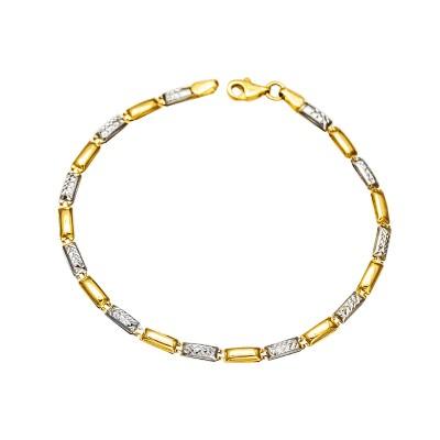 Gustowna złota bransoletka z białym złotem