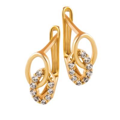 Eleganckie złote kolczyki z owalnymi elemantami