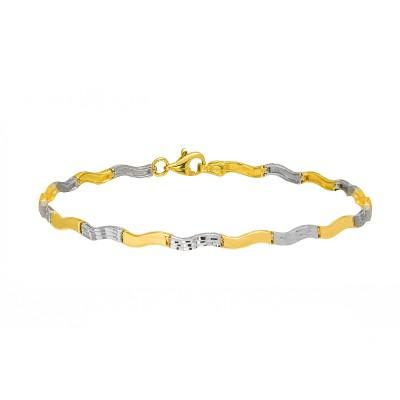 Złota bransoletka z żółtego i białego złota o błyszczącej powierzchni Prezent Grawer GRATIS