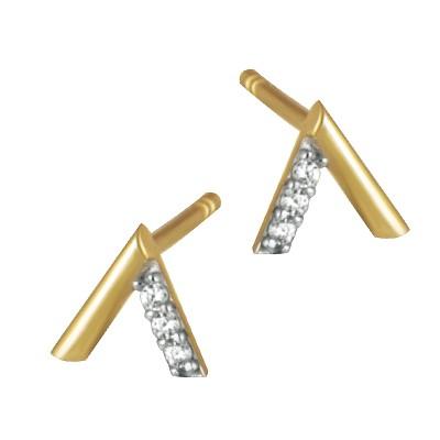 Piękne złote kolczyki z motywem V i cyrkoniami