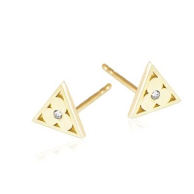 Modne złote kolczyki trójkąty z koniczynką i cyrkonią
