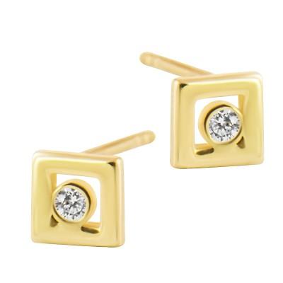 Geometryczne złote kolczyki kwadraty z cyrkonią