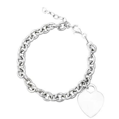 Wytworna srebrna bransoletka  łańcuch z sercem