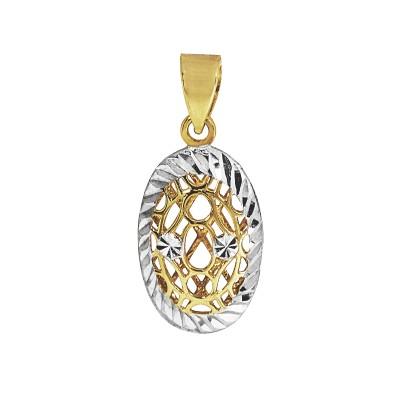 Niezwykła złota zawieszka owal z białym złotem Prezent Grawer Gratis