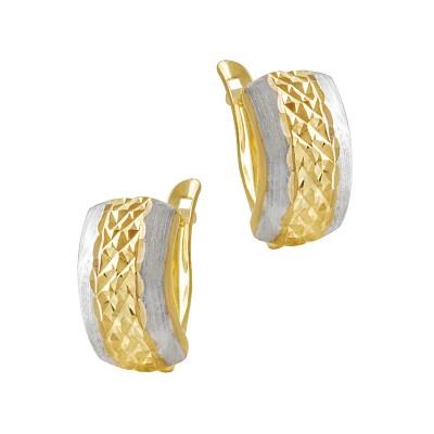 Złote kolczyki z białym złotem Prezent Grawer GRATIS