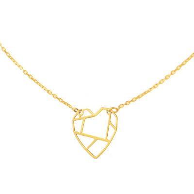 Subtelny złoty naszyjnik geometryczne serduszko