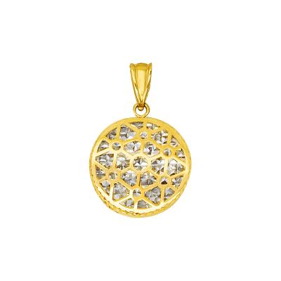 Niezwykle elegancka złota ażurowa zawieszka z diamentowanym białym złotem Prezent Grawer GRATIS