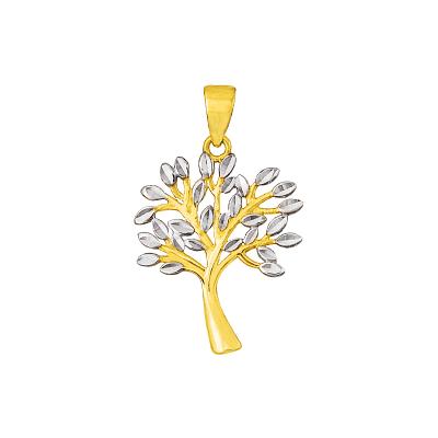 Modna zawieszka Drzewko Szczęścia z białym złotem Prezent Grawer GRATIS