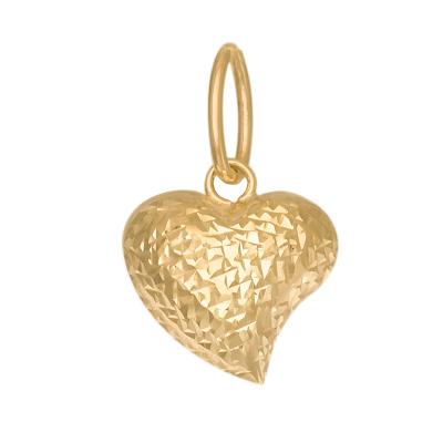 Dwustronna złota zawieszka asymetryczne diamentowane Serce  Prezent Grawer GRATIS
