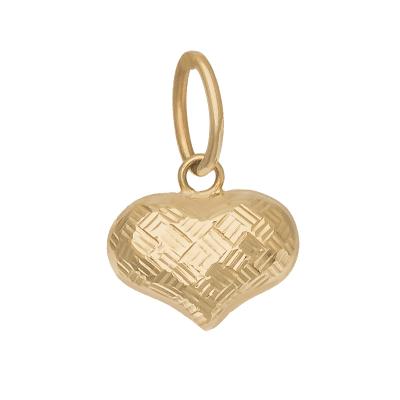 Dwustronna złota zawieszka Serce z połyskującą powierzchnią Prezent Grawer GRATIS