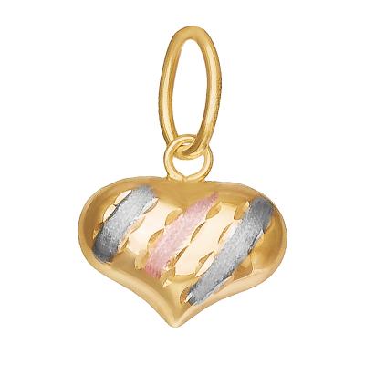Dwustronna złota zawieszka Serce z białym i różowym złotem