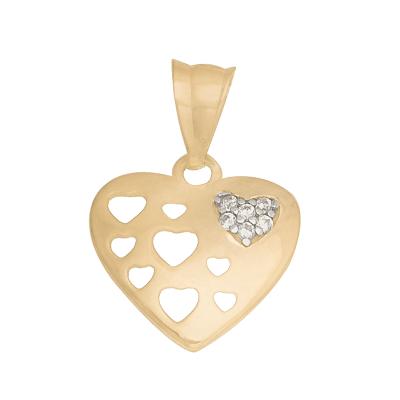 Zawieszka złote Serce z błyszczącymi kryształkami Prezent Grawer GRATIS