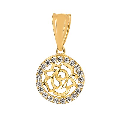 Elegancka złota zawieszka diamentowana róża Prezent Grawer Gratis