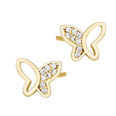 Złote kolczyki śliczne Motylki z cyrkoniami Prezent Grawer GRATIS